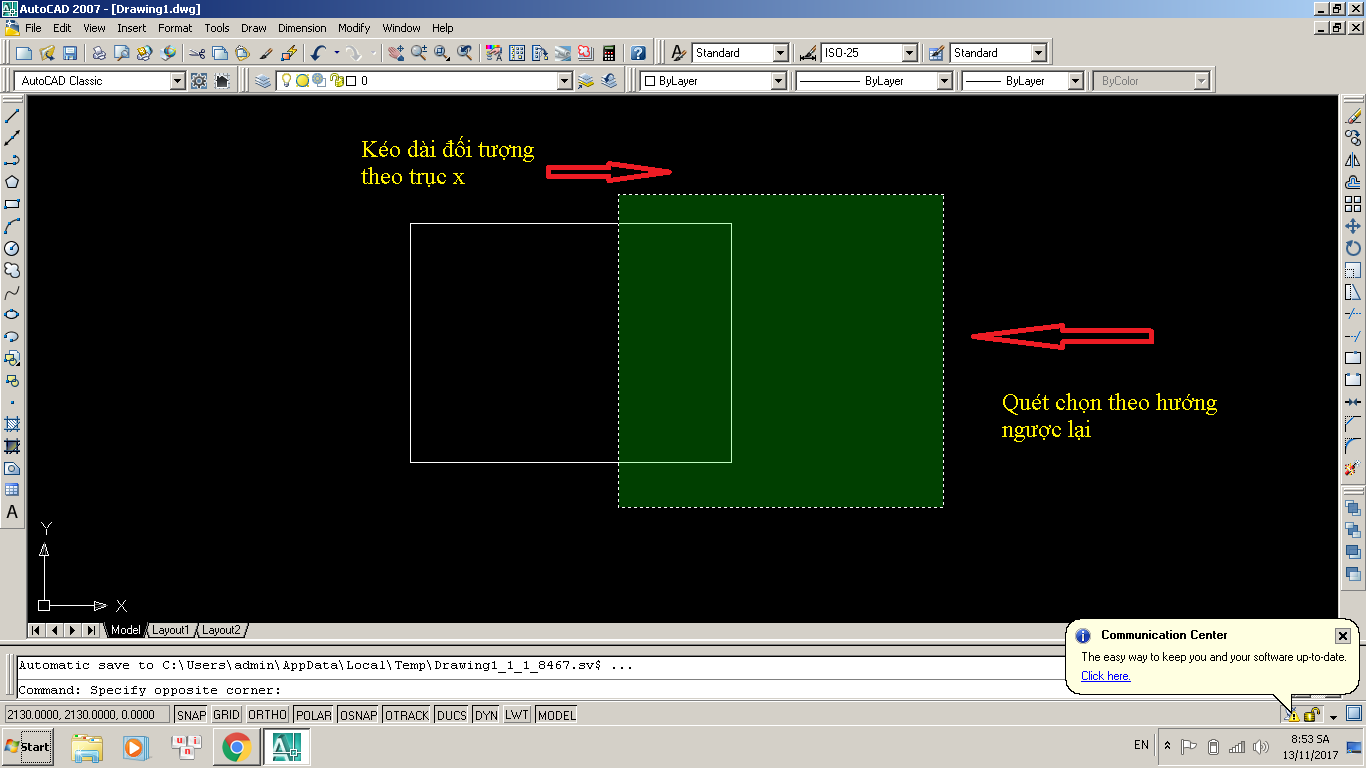 Lệnh STRETCH – lệnh S trong Autocad
